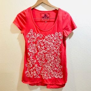 [Johnny Was] Coral Embroidered Tunic Top Small
